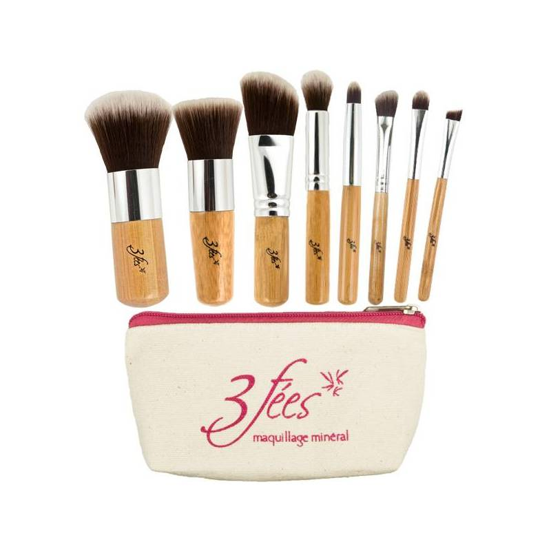 kit 8 pinceaux 3 f es maquillage min ral. Black Bedroom Furniture Sets. Home Design Ideas